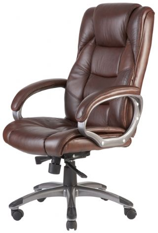Leather Executive Office Chair Brown